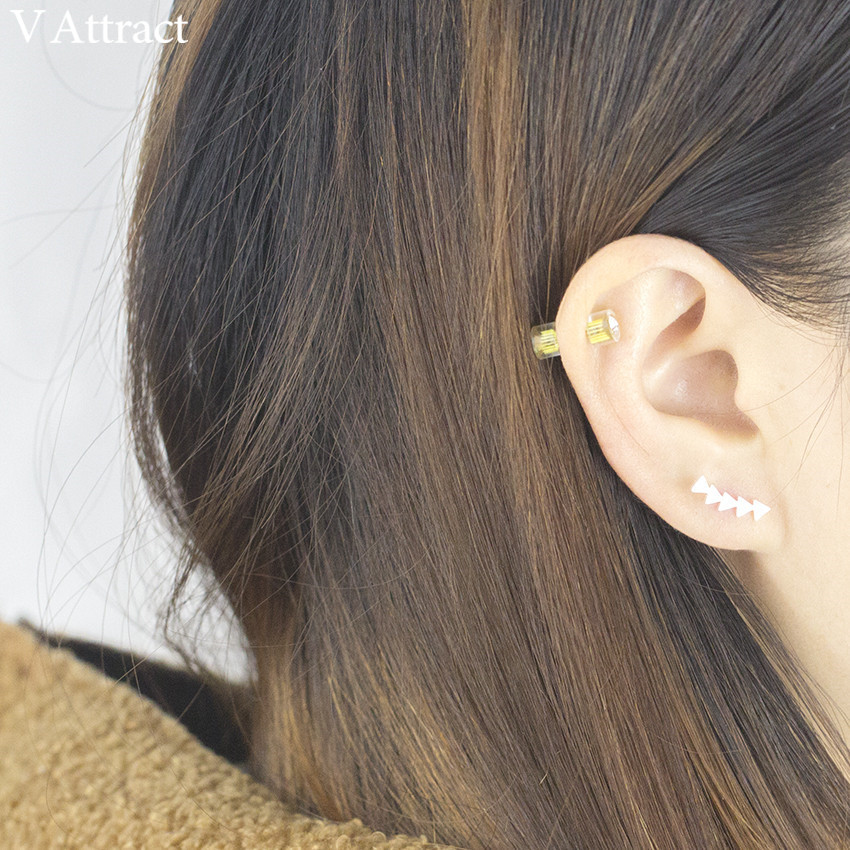 V Menarik Segitiga Geometris Dalam Garis Ear Cuff Crawler Stud - Perhiasan fashion - Foto 6