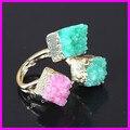 1pcs 2015 fashion natural green crystal rhinestore druzy square stone pendant ring gems stone pendant gold  plated ring