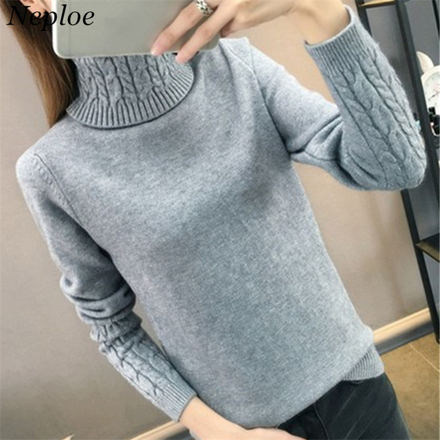 5e19846a70 Neploe Solid Knitted Pattern Women Sweater High Neck Thick Warm Female  Pullover 2019 Autumn Winter New