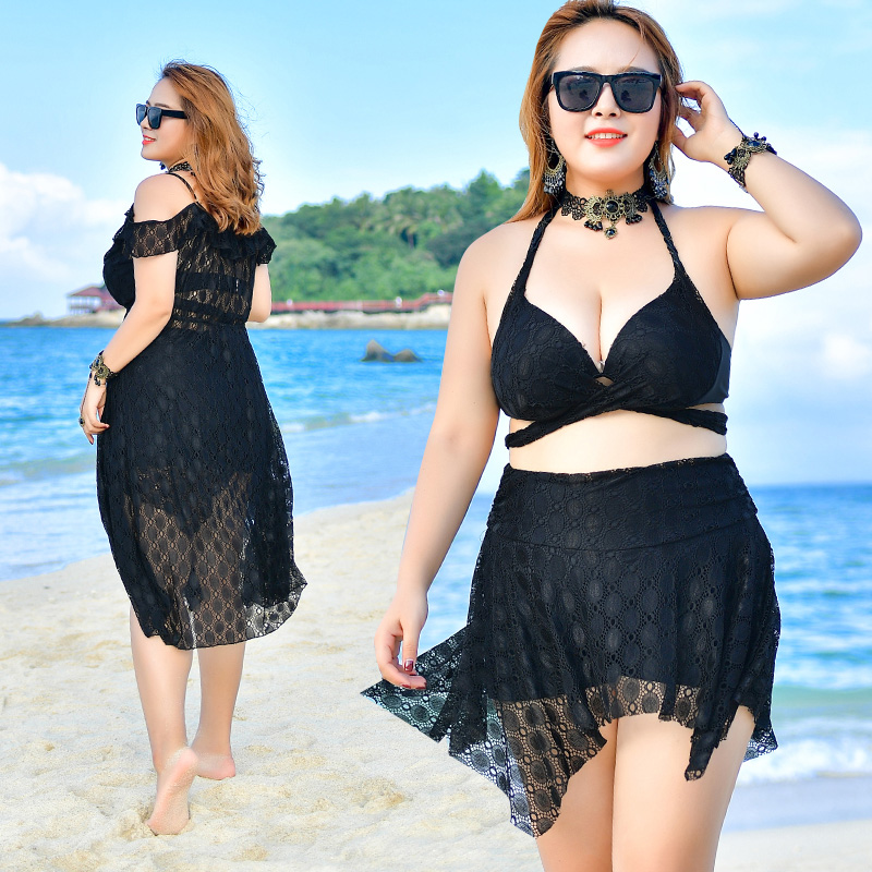 2018 New bikini set lace high waist beachwear 4 colors plus size swimwear bathingsuit for women long cover up big size swimsuit