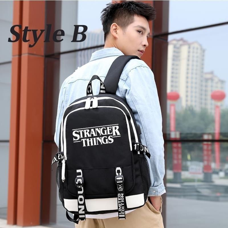 Image 4 - multifunction USB charging for teenagers boys Student Girls  School Bags Stranger Things Backpack travel Luminous Bag Laptop  PackBackpacks