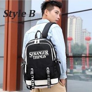Image 4 - multifunction USB charging for teenagers boys Student Girls School Bags Stranger Things Backpack travel Luminous Bag Laptop Pack