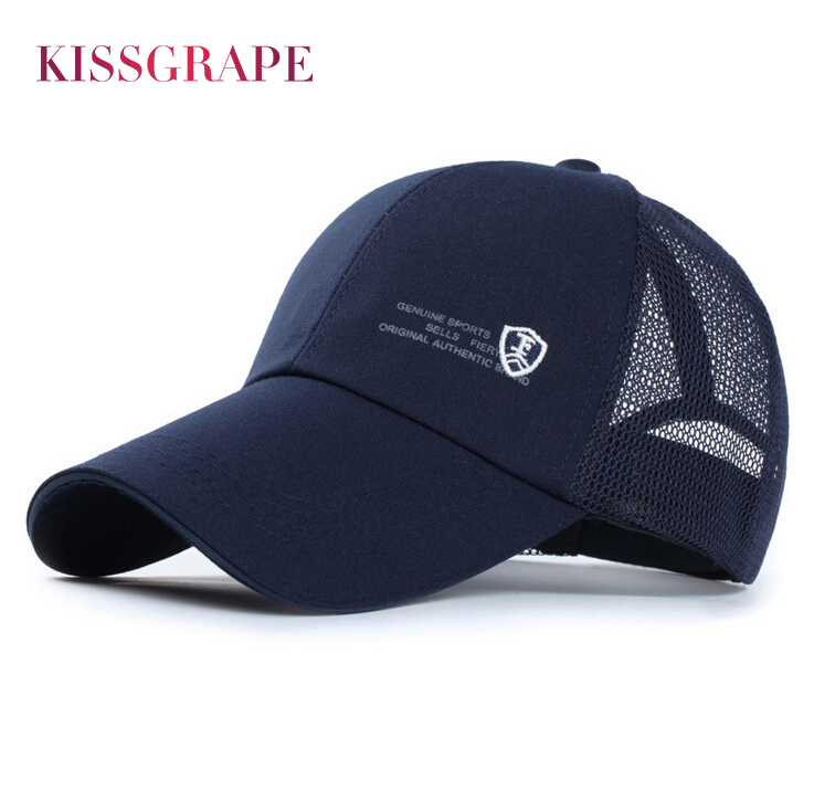 2018 Men Summer   Baseball     Cap   Blue Hats Breathable Bone Snapback Hats Male Sports Mesh   Baseball   Hat Dad Drake Hats Casquette