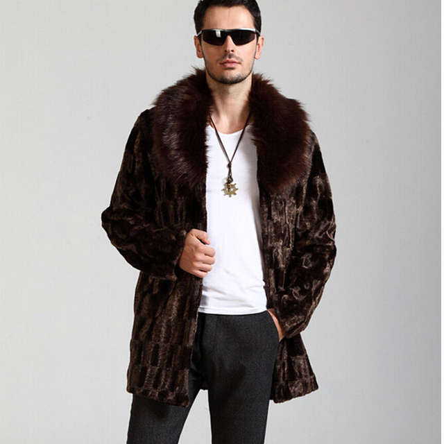Winter men fashion atmosphere faux fur coat brown warm cozy casual mink fur  coats Long luxury fox fur collar coat  b64a4e49586