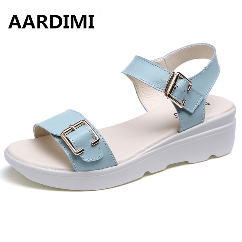 New arrival 2017 solid genuine leather platform sandals woman buckle flat with women summer shoes wedges sandals shoes woman