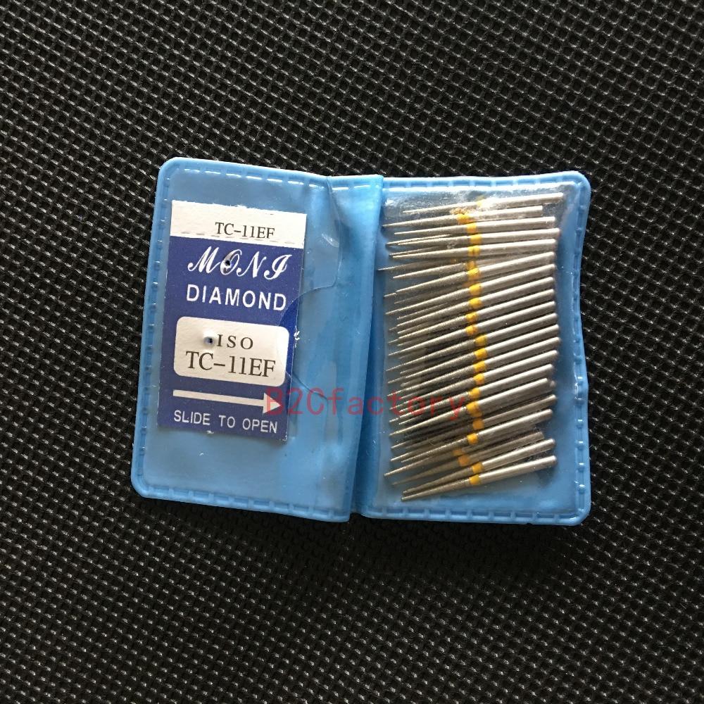 50PCS/bag TC11 EF Dental Diamond Drill Taper Conical End Burs Dental Burs High Speed Dental Handpiece