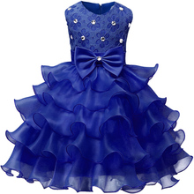 Kids Sleeveless Princess Dress Girls Flower Chiffon Wedding Dress For Ceremony Party Multi Layer Ball Gown Dignity Blue Dress