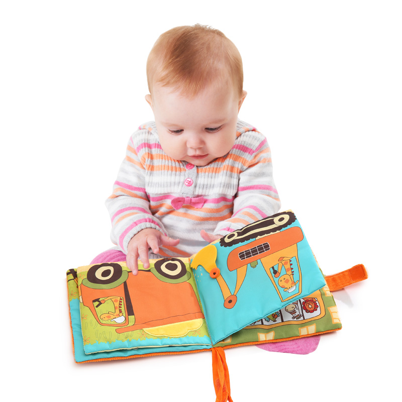 Candice guo! New arrival soft baby cloth book colorful giraffe driving a car vehicle baby early learning birthday Christmas gift