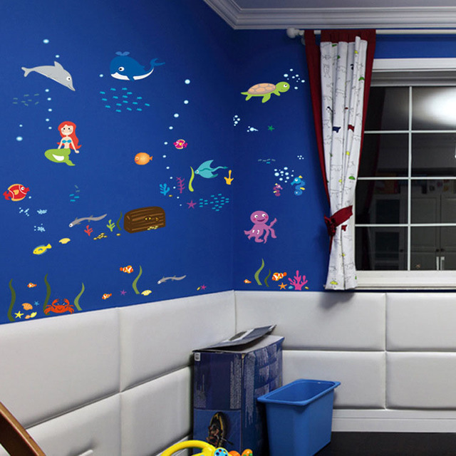 Free shipping Sea world preschool children room is decorated ...