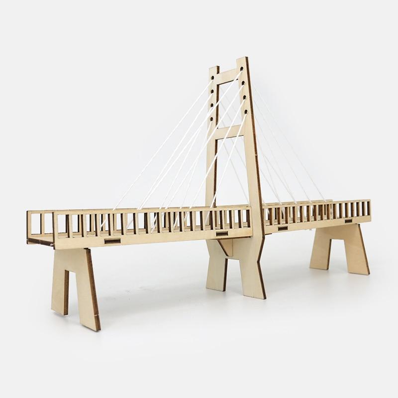 April Du Children Creative Kid Scientific Toys Diy cable stayed bridge toy