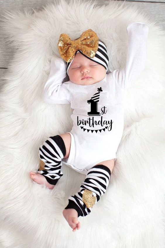 My First Birthday Letter Print Newborn Cotton Baby Long Sleeve Baby Rompers Girls Boys Clothes Baby Boy Clothing Set 0-24M