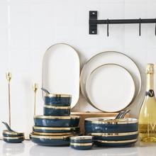 Gold Inlay Ceramic Plates Steak Food Dish Nordic Style Retro Porcelain Tableware Bowl Ins Dinner Plate High End Dinnerware Set
