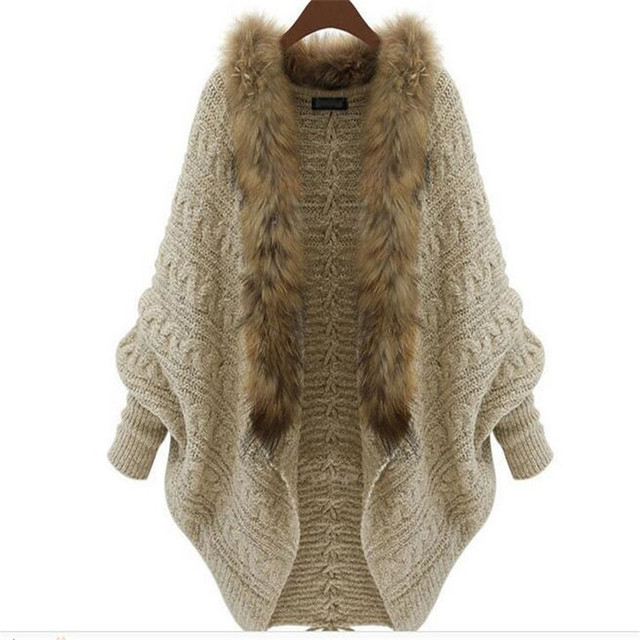 2017 Winter Maternity Women Sweater Autumn Medium-Long Coat Bat Wing-Sleeve Thicken Solid Fur Collar For Pregnant Shawl Cardigan