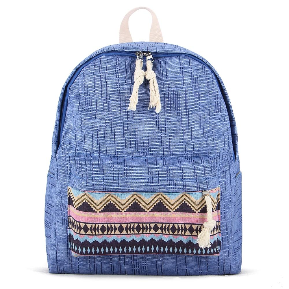 Sansarya 2017 Preppy Style Bamboo Parttern Fabric Vintage Retro Backpack Rucksack for Teenage Girls StudenT School