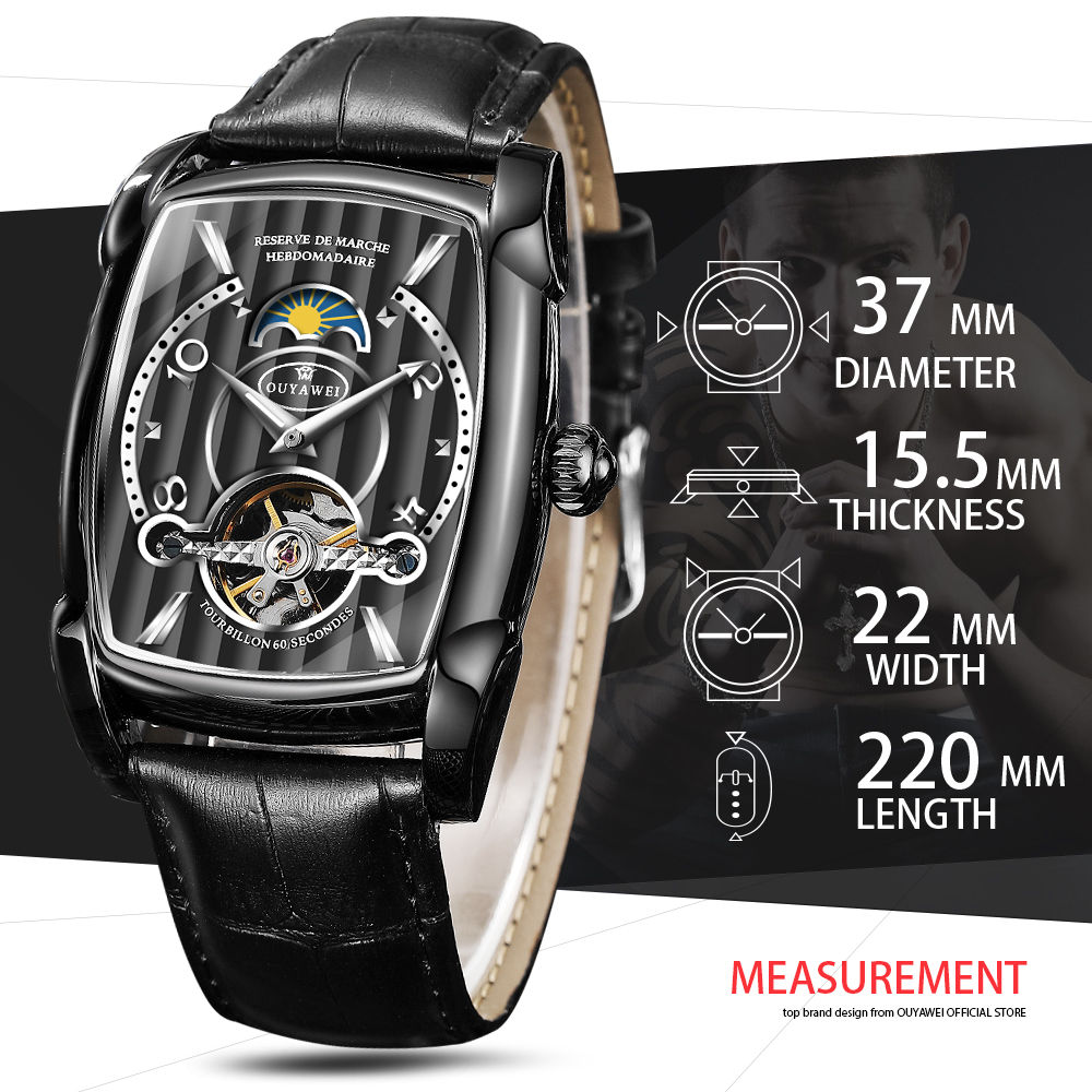 Automatic Skeleton Mechanical Tourbillon Wrist Watch 2