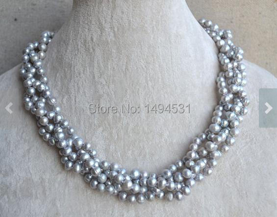 Wholesale Pearl Necklace, 18 Inches 4 Rows 5.5-6.5mm Gray Color Genuine Freshwater Pearl Necklace , Wedding Party Jewelry.