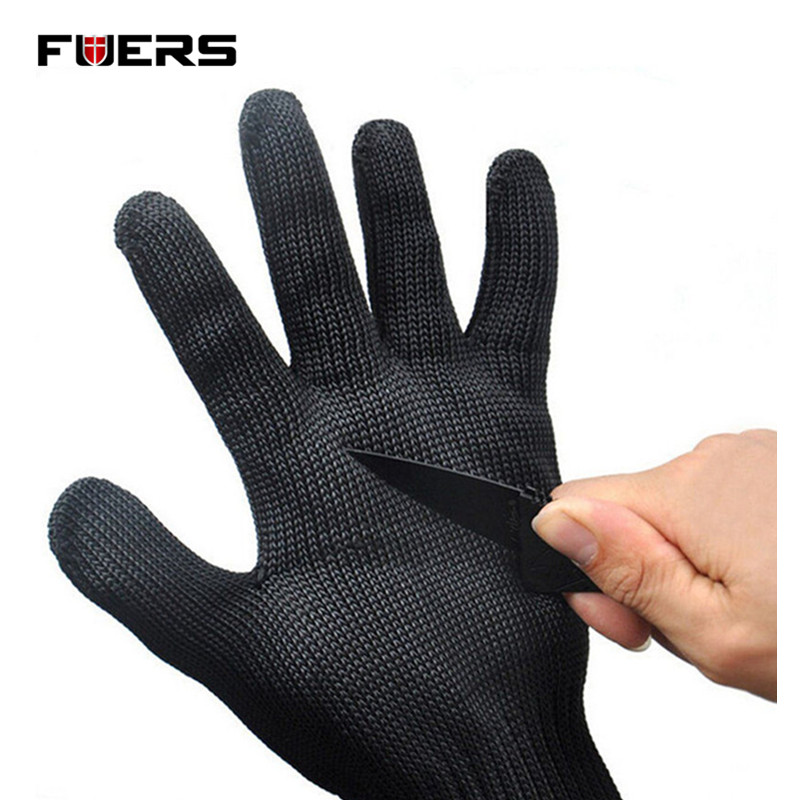 Fuers Black Stainless Steel Wire Resistace Gloves Anti-Cutting Breathable Work Gloves Safety Anti-Abrasion Gloves black stainless steel wire resistace gloves anti cutting breathable work gloves safety anti abrasion gloves free shipping