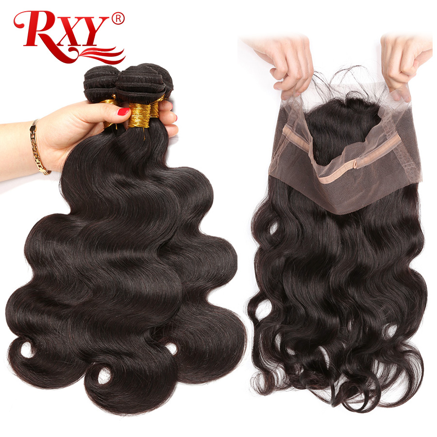 RXY Remy Hair 3 Bundles Brazilian Body Wave Human Hair Weave Bundles With Frontal Closure 360