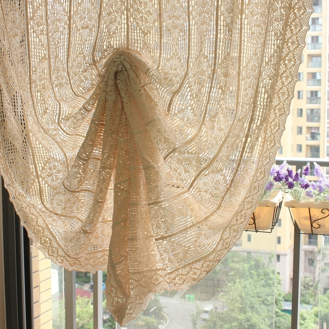 Vintage Style Crochet Curtains French Cotton Balloon Curtains Pull Up Kitchen  Curtains