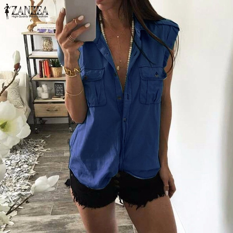 Blusas Femininas 2017 Summer Women Fashion Vintage Buttons Pockets Blouses Sexy Sleeveless Jeans Denim Blue Shirts Casual Tops