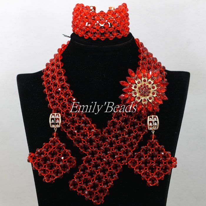 Red African Costume Jewelry Set Big Nigerian Wedding Bridal Crystal Beads Necklace Bracelet Earrings Set Free Shipping AIJ706