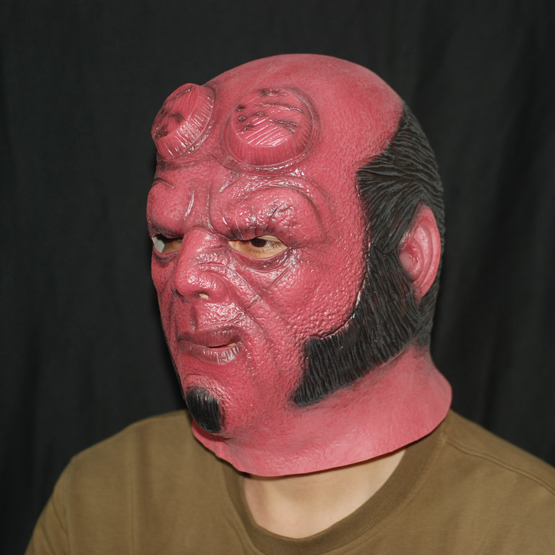 Hellboy Helmet Cosplay Halloween Realistic Silicone Masks Latex Escape The Room Costume Props L2142