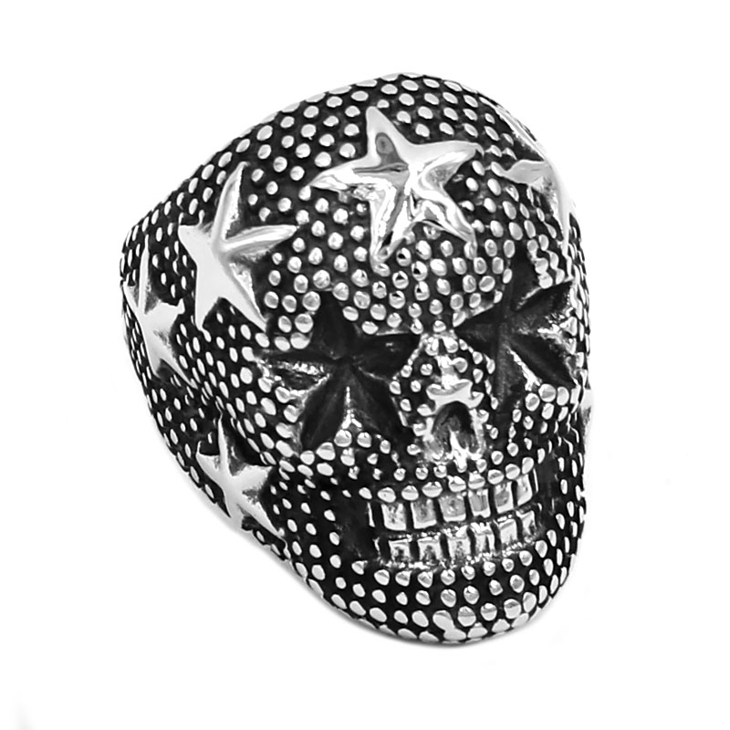 Five-Pointed Star Skull Stainless Steel Ring