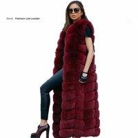 10steps 120cm Super Long Fur Vest Winter Women Luxury Faux Fox Fur Vest Furry Slim Woman Fake Fur Vest Plus Size Faux Fur wj1342