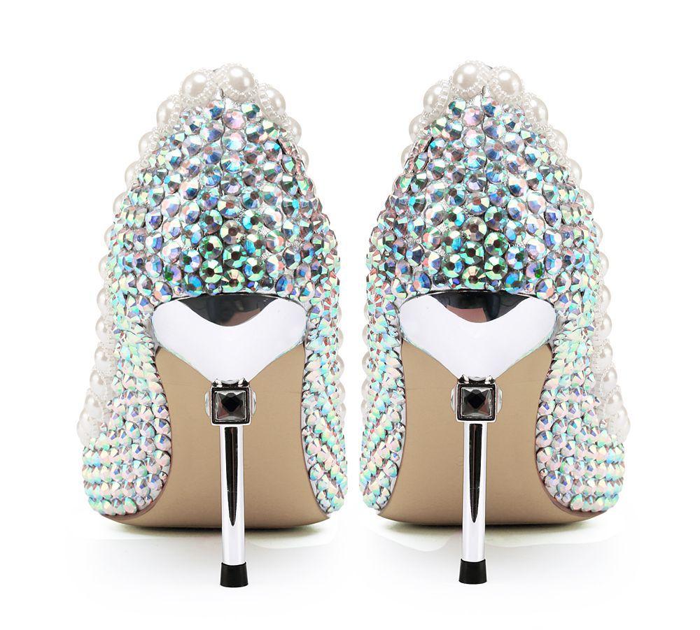 Chaussures Banquet Luxe Pompes Strass Talons Bout Femmes Riche De Pointu Reine Mince Coloré Soirée Fantaisie Dame Argent VUzMpqSG