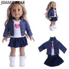 JIMMY BEAR 3 Pcs / Set Fantaisie Jeans Chemise Hauts Plissée Robe Costume Vêtements pour 18''American Girl Notre Génération Poupée Princesse Tenue