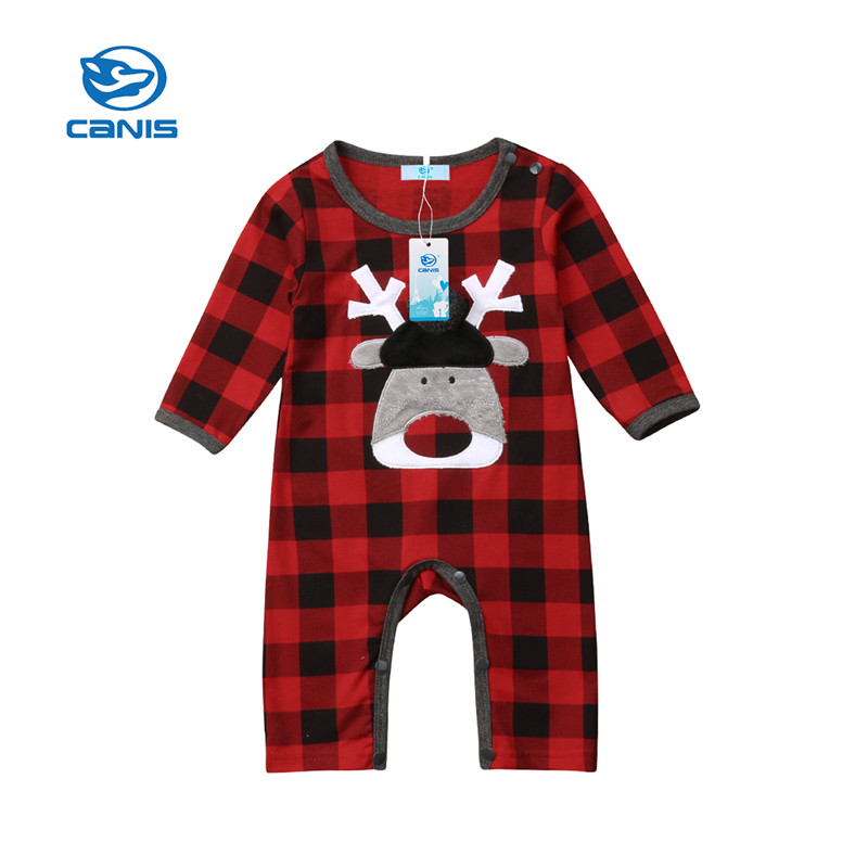 CANIS Baby Rompers Long sleeve Christmasd Kid Newborn Baby Boy Girl Xmas Deer Romper Plaid Checks Jumpsuit Play Clothes Autumn