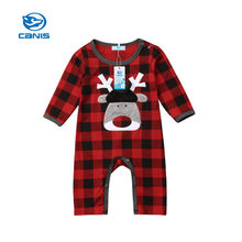 CANIS Baby Rompers Long sleeve Christmasd Kid Newborn Baby Boy Girl Xmas Deer Romper Plaid Checks Jumpsuit Play Clothes Autumn(China)