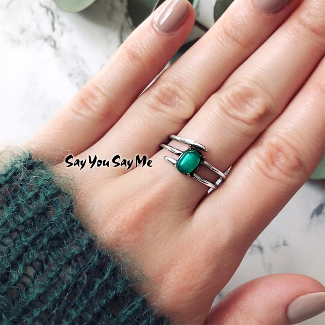 925 Sterling Silver Malay Jade Natural Stone Ring Say You Say Me Unisex Multilay