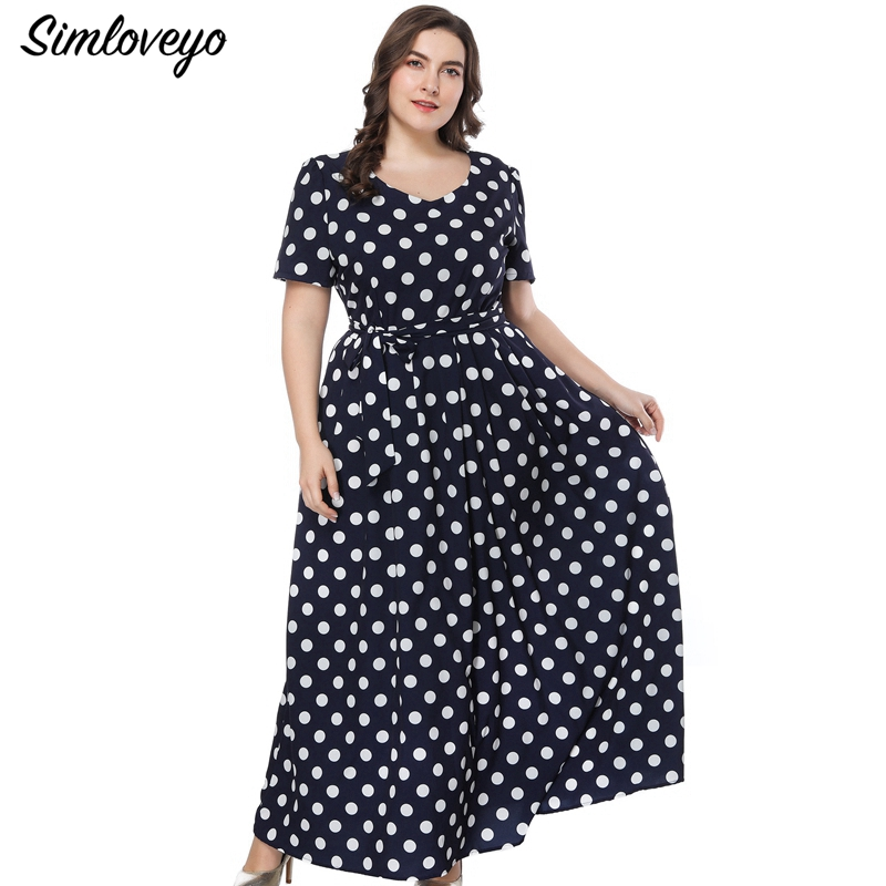 SIMLOVEYO Summer Vintage Big code Sexy Ball Gown Geometric Printing Half Sleeve Ankle Length Empire V Neck Classic Dress