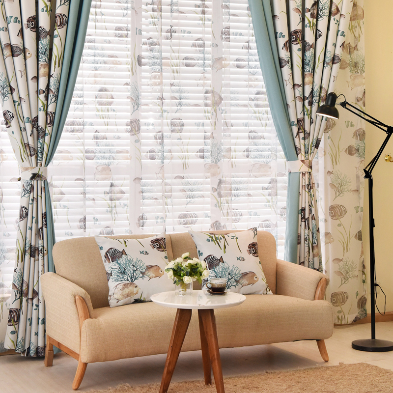 Curtains For Room Boys Curtains Child Blue Bedroom Tulle Short Curtains  Design Patchwork Fish Window Curtains