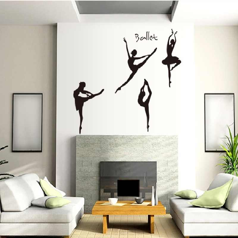 Ballet Dancer Wall Stickers Home Decoration For Dancing Room Sofa Background Decal Pvc Plane Portrait Mural Window Diy Poster