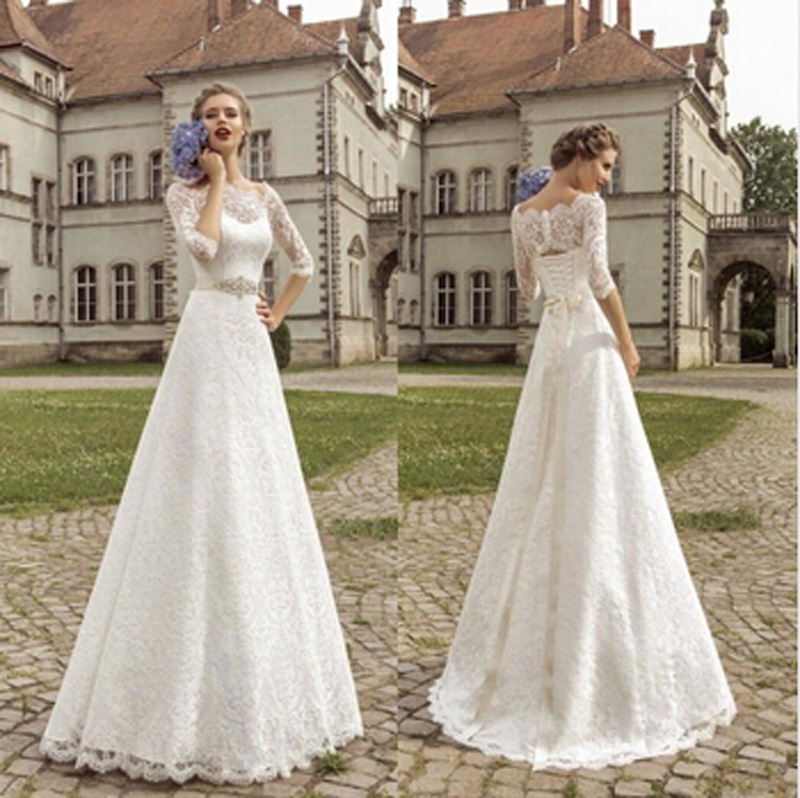 Cheap 3 4 Sleeve Wedding Dresses: White Lace Wedding Dresses 2016 Bateau 3/4 Sleeves A Line