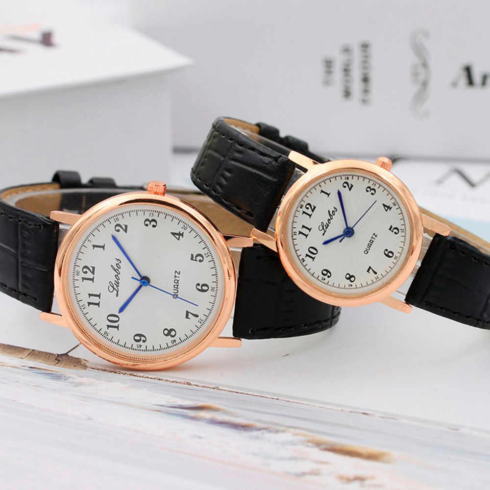 Thời trang Đồng Hồ Nữ Nam Thạch anh-Đồng hồ 2018 Luobos thương hiệu Đơn Giản Thiết kế số tình nhân dây da đồng hồ nữ dây đồng hồ