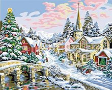 WEEN Snow Castle Pictures Painting By Numbers DIY Digital Bridge Wall Oil Canvas Art Coloring by numbers For Home Decor