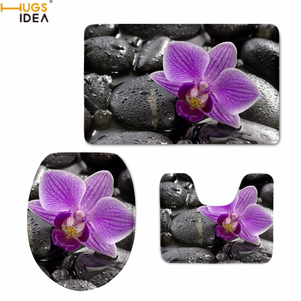 HUGSIDEA, современный стиль, орхидеи с принтом, чехлы для унитаза, аксессуары для ванной комнаты, набор из 3 предметов, коврики, Нескользящие ковр