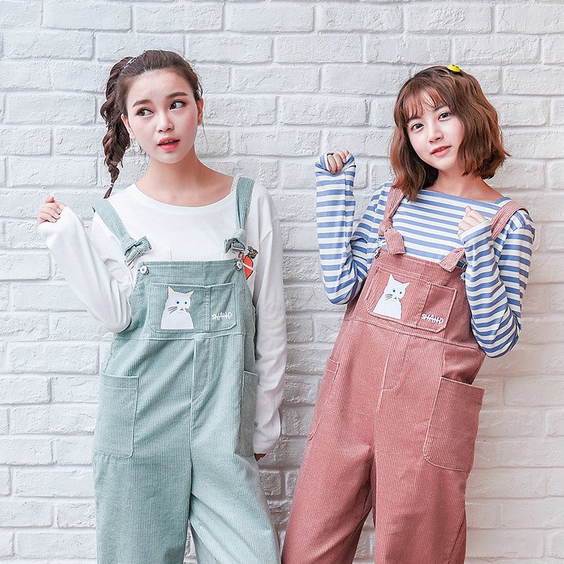 Mori Girl Autumn Fashion Women Casual Pants Cute Corduroy Rompers Preppy Style Cat Print Overalls Female