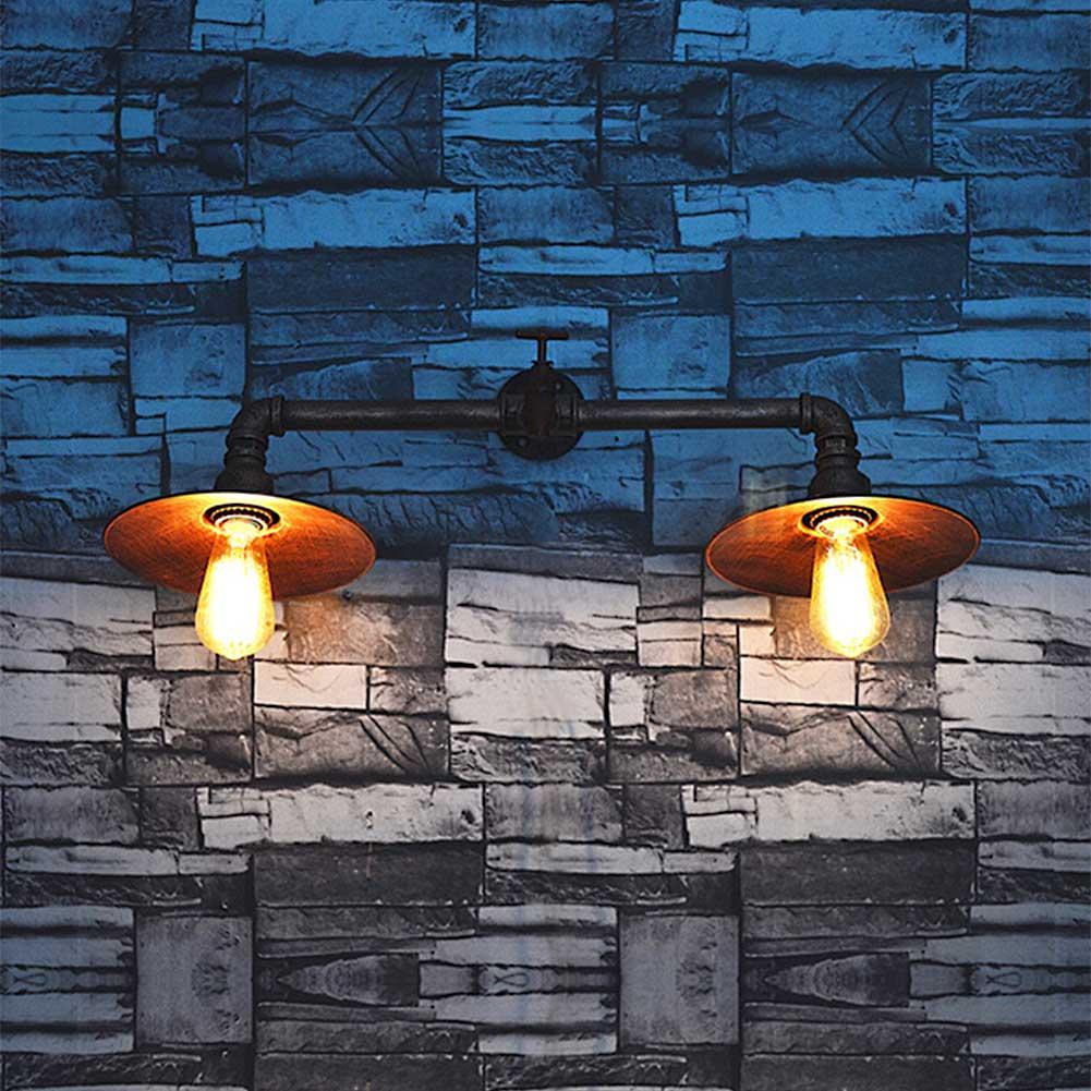 ФОТО High Quality Iron Lampshade Big Wall Lamp Waterpipe Retro E26/E27 Wall Lights Sconces Indoor Lighting for Bar Coffee Shop