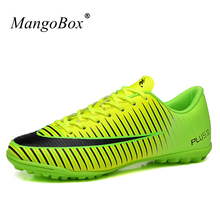 Hot Football Shoes For Artificial Turf Cleats Men Kids Original Football Boots Children Soccer Shoes Cheap Tf Trainers(China)