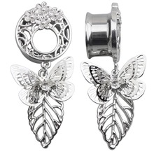 1PC Rhinestone Stainless Steel Ear Plugs Earrings Flesh Tunnel Shellhard Hollow Butterfly Pendant Puncture Body Jewelry