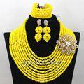 Yellow Nigerian Beads Set Marvelous Bridal Jewelry Sets Handmade Item Large Stock Wholesale ABW180