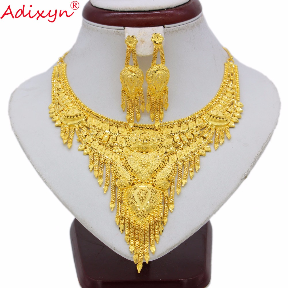 Adixyn India Jewelry Set For Women Girls Gold Color Tassels Chokers Chain/Earrings Elegant Arab bridal Wedding Gifts N070111Adixyn India Jewelry Set For Women Girls Gold Color Tassels Chokers Chain/Earrings Elegant Arab bridal Wedding Gifts N070111