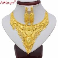 Adixyn India Jewelry Set For Women Girls Gold Color Tassels Chokers Chain/Earrings Elegant Arab bridal Wedding Gifts N070111