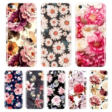 Phone Case For iPhone SE 5S 5 S 5C Soft Silicone TPU Ultra Thin Cute Flower Floral Back Cover For iPhone 4S 4 S Case(China)
