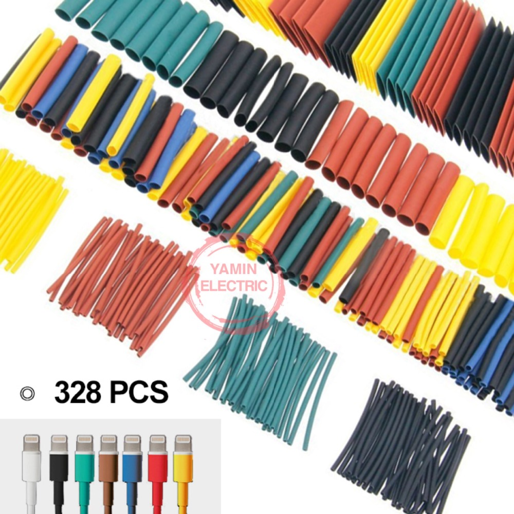 328Pcs/set Sleeving Wrap Wire Car Electrical Cable Tube kits Heat Shrink Tube Tubing Polyolefin 8 Sizes Mixed Color ...