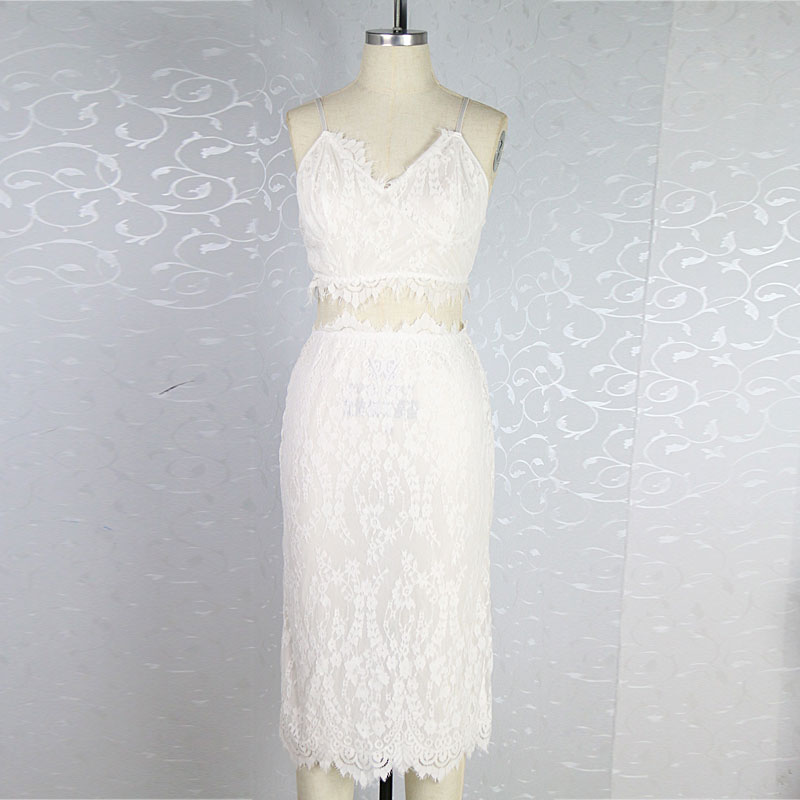 5fd92a3d0493d sexy summer women bandage eyelash lace dress two piece Bodycon sheath  Sleeveless lace slip lace crochet dress-in Dresses from Women's Clothing on  ...